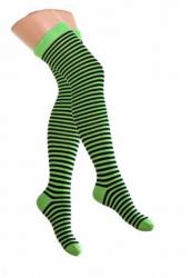 Overknee Socken Neongrün & Schwarz Nadelstreifen