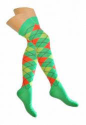 Overknee Socken Schwarz & Weiß Kariert