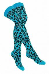 Overknee Socken Leopardenmuster Schwarz & Türkis