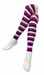 Overknee Socken Rot Blau Geringelt