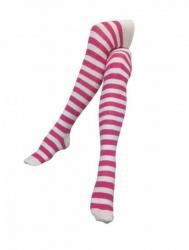 Overknee Socken Weiß & Rosa Gestreift