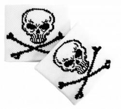 Totenkopf Schweißband In Weiß