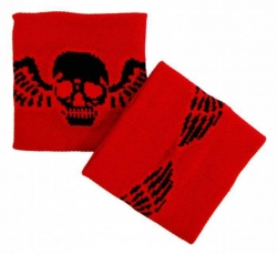 Schweißband Rot Totenkopf