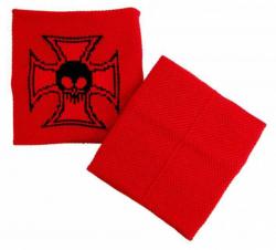 Schweißband Rot Totenkopf Kreuz