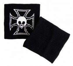Schweißband Schwarz Totenkopf Kreuz