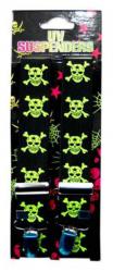 Hosenträger schwarz mit neongelben Totenköpfen